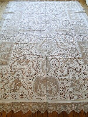 Antique Linen- Ornate Italian Linen Tablecloth W/cherubs,figurals,animals Etc.