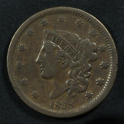 1838 Coronet Head Large Cent -- Very Fine Condition