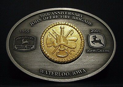 John Deere Waterloo FIRE BRIGADE 50th Anniversary EMPLOYEE Belt Buckle 2005
