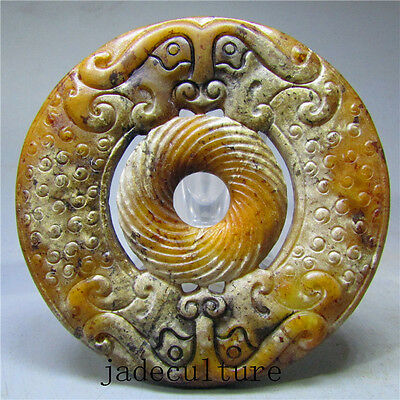 Chinese natural ancient old hard jade jadeite hand-carved pendant necklace 10099