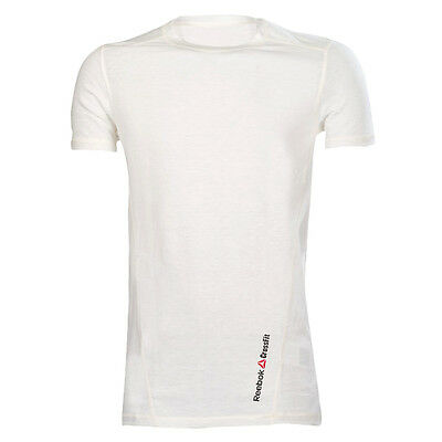 Mens White Reebok CrossFit Triblend Short Sleeve Tee Gym Running Workout T-Shirt