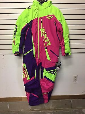 Fxr Maverick Monosuit Snowmobile Women's Insulated Elec Lime/ Purple Geo/fuchsia