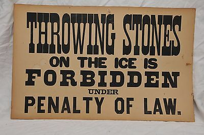 """Antique """"throwing Stones On Ice Is Prohibited"""" Cardboard Old Vintage Sign"""