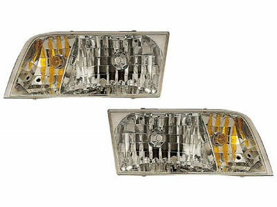 98-11 Ford Crown Victoria Headlights Headlamps Pair Set Halogen W/Xenons New