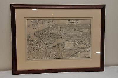 ANTIQUE 19th C FRAMED MAP OF NYC MANHATTAN BROOKLYN CENTRAL PARK
