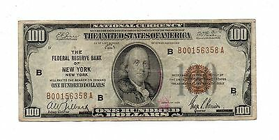 1929 New York Bank $100. Federal Reserve Note. United States Paper Money