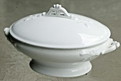 Burgess & Goddard Bow & Tassel White English Ironstone Vegetable Tureen c 1878