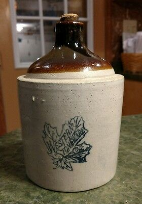 Western Stoneware Jug  1/4 gallon 6 1/2 inches tall rare!!!