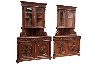 RARE Antique French Hunt Corner Cabinets Matching Pair Oak 19th Century