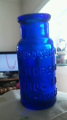Antique Miniature Blue Glass Bromo Seltzer Bottle 2.5 in. tall