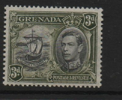 Grenada 1938 3d perf 13.5 x 12.5 variety line on sail SG158a MLH mint stamp