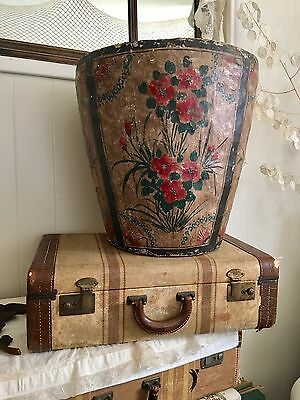 Huge! Vintage Paper Mache Planter Pot Hand Painted Flowers