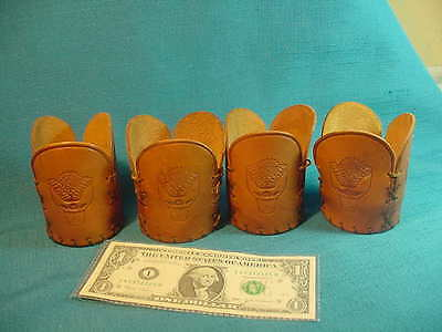 Lot of 4 Vintage HUGHES TOOL Co Logo OIL DRILL Leather Beer or Soda pop Holders