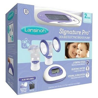 "Lansinoh ""Signature Pro Double Electric Breast Pump"" White/Purple BPA BPS Free"