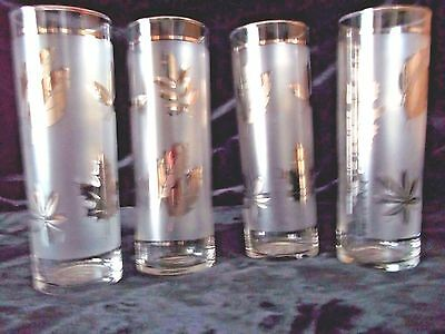 4 Libbey Silver Leaf Frosted Satin Tom Collins Ice Tea Glasses Set Of 4  Euc