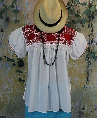 Red & White Hand Embroidered Blouse Maya Chiapas Mexico Hippie Peasant Santa Fe