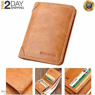 Genuine Cowhide Leather Bifold Wallet Men's Cash ID Credit Card Holder BROWN