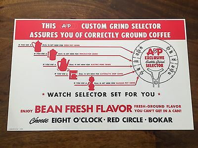 Vintage A&P Supermarkets 8 O'clock Coffee Grinder Sign - Red Circle, Bokar