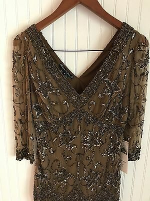 Nordstrom Beaded Sequin and Sparkle Bronze Cocktail Evening Dress Sz 12 NWT