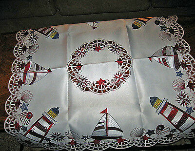 "Nautical Lighthouse & Sailboat Embroidered Tablecloth Topper  Runner 34"" x 34"""