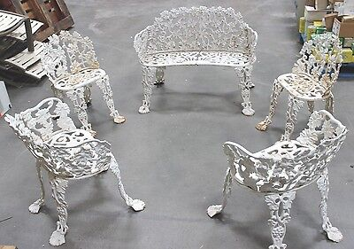 Old Vintage Heavy Cast Iron/Wrought Iron Patio Furniture 5 Pieces