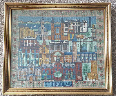Vintage Beautiful Tapestry Picture Of St. Andrews, Framed