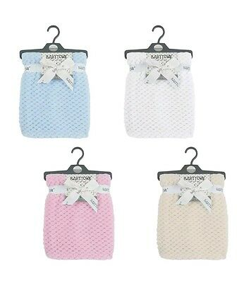 PINK BABY BOYS GIRL SUPER SOFT WAFFLE BLANKET WRAP GIFT 75x90cm BRAND NEW