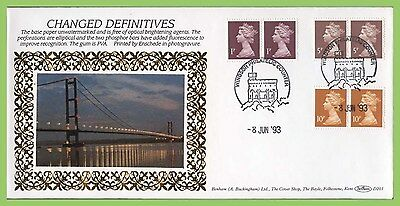 G.B. 1993 1p, 5p and 10p Enschede definitives on Benham First Day Cover, Windsor