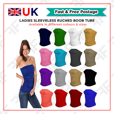 6d1e4ac5f5 Ladies New Plain Strapless Sleeveless Ruched Boob Tube Women Bandeau Top  8-14