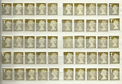 50 1st Class Gold Unfranked GB Stamps Off Paper