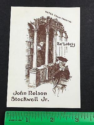John Nelson Stockwell Jr. Library Antique EX-Libris Bookplate
