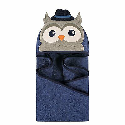 Hudson Baby Animal Face Hooded Towel for Baby Boys Navy Blue Mr Owl Top Hat Cute