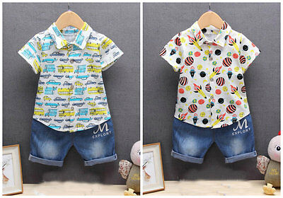 Baby boys clothes top summer shirt & denim short pants 2Pcs summer Outfits cool