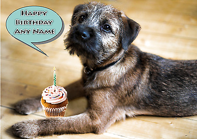 PERSONALISED BORDER TERRIER DOG BIRTHDAY CARD BLANK INSIDE  Any name on front