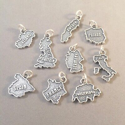.925 Sterling Silver COUNTRY CONTINENT MAP CHARM Souvenir Travel NEW 925 CT01