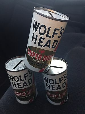 Lot Of 3 Vintage WOLF'S HEAD Super Duty MOTOR OIL Can Bank Oil City, PA