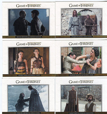 Game of Thrones Season Six 6  DL31 - DL40 10 Card Relationship Gold Parallel Set