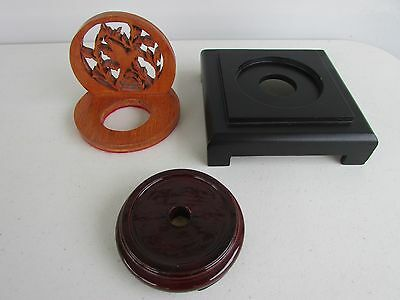 Lot of 3 Chinese Wood Display Stands Pedestals Vase Lamp Bases Lacquer