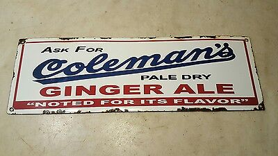 Antique Coleman's Ginger Ale Porcelain Advertising Soda General Store Sign