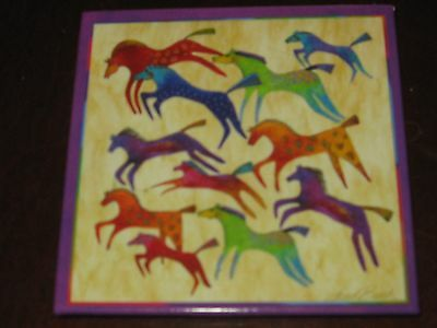 """Laurel Burch """"Colorful Abstract Horses"""" Magnet ~ #26432 ~"""