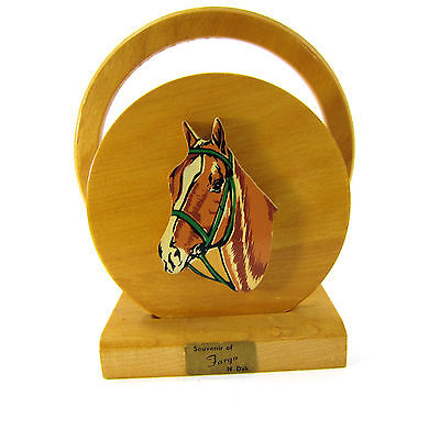 Vintage Souvenir Fargo North Dakota Napkin Holder Wood Horse Cowboy