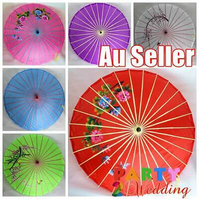 3x Japanese Chinese Parasol Umbrella Art Deco Wedding Dance Party Fabric 85cm D