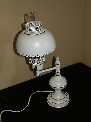 Vintage White Tole Toleware Metal Table Swing Arm Lamp Original Shade Gold