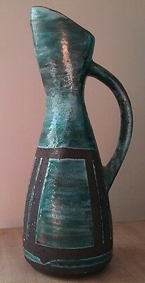 POTTERY JUG 970 Made in East Germany 1970's vase 18.5cms vintage retro kitsch