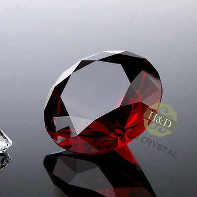 New 40mm Red Crystal Diamond Shaped Paperweight Cut Glass Home Decoration Gift