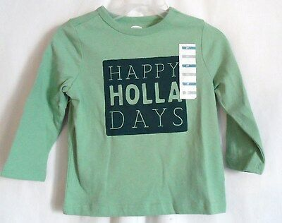 Girls 3T Green Happy Holladays Holliday L/s Cotton Shirt Nwt ~ Old Navy