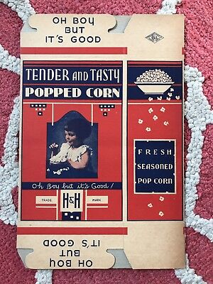 "Vintage ""Tender and Tasty"" Popcorn Movie Theater Box H&H Co. Michigan Brooklyn"