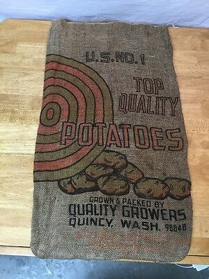 Vintage US NO 1 Top Quality Potatoes Burlap Sack Quality Growers Quincy Wash.