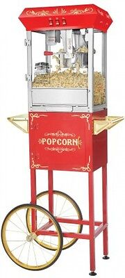 Popcorn Popper Machine w/Cart Foundation Red Antique Style Great Northern