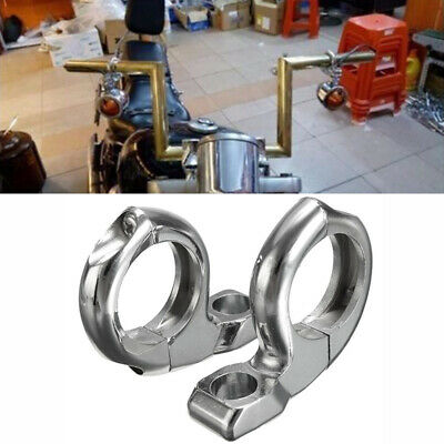 """2x New 1"""" Handlebar Motorcycle Turn Light/Mirror Adapter Clamp Mount Silver"""